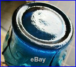 Vintage Teal Blue Italian Art Glass Cherry Pattern Genie Bottle Decanter
