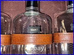 Vintage Travel Bar Leather Case Glass Liquor Decanter Scotch Bourbon Gin Set