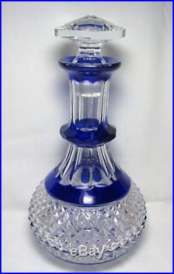 Vintage VAL ST LAMBERT Cobalt Blue Cased Cut to Clear Crystal Decanter Bottle