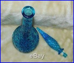 Vintage Venation Glass Blue Genie Bottle Decanter Hobnail made in Italy