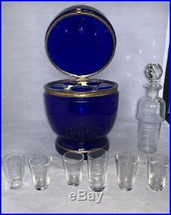 Vintage Victorian Czechoslovakian Egg Shape Cordial Vodka Bar Set Cobalt Blue