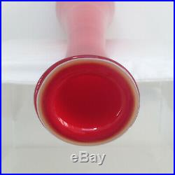 Vintage XL 79cm / 31 Empoli Cased Red Glass Decanter Genie Bottle