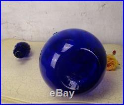 Vintage XL Blue Glass Genie Bottle Stopper Decanter Decorative Murano 24.40