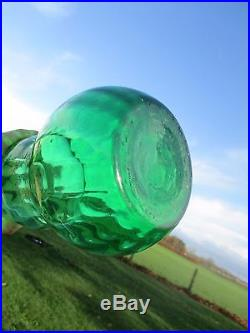 Vintage XL Stunning Green Glass Genie Bottle Stopper Decanter Marked Italy 24.8