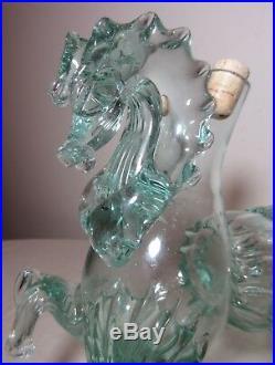 Vintage hand blown Murano Venetian glass figural horse decanter bottle Italy