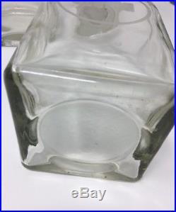 Vintage liquor decanter set of 4 Heavy Glass Vodka, Gin, Scotch, Bourbon
