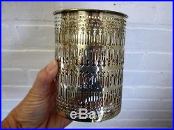 Vintage pierced STERLING SILVER GLASS BOTTLE DECANTER Shreve & Co