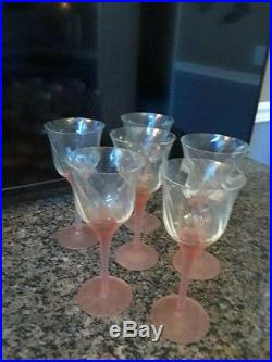 Vintage wine decanter & glasses set pink frosted glass crystal made in Romania