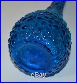 Vntg MCM 22 Genie Bottle Decanter Peacock Blue Italian Bubble Glass Empoli