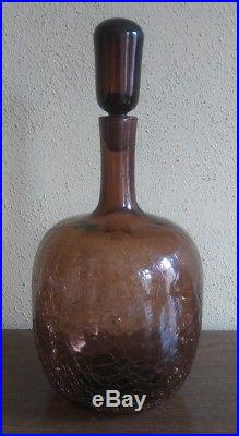 Vntg MID CENTURY danish modern BLENKO crackle glass DECANTER. RARE chestnut
