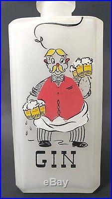 Vtg 50s Liquor Decanters MCM Mid Century Modern Kitschy Gay Fad Bartender