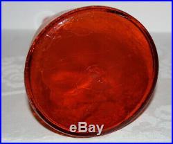 Vtg 920 BLENKO Winslow Anderson Tangerine Crackle Glass Decanter 22 1/2 MCM