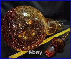 Vtg Amber Hour Rainbow Glass Crackle Genie Bottle Decanter Teardrop Stopper 20+