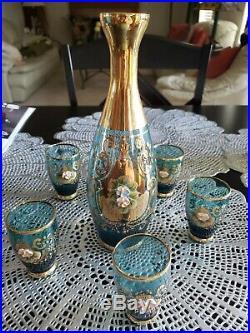 Vtg Antique MOSER BOHEMIAN Heavy Gold Gilt Hand Painted Glass Decanter Set