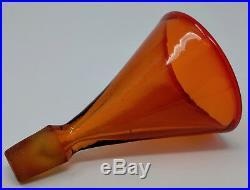 Vtg BLENKO WAYNE HUSTED Conical Shot Glass Sipper Stopper for Tangerine Decanter