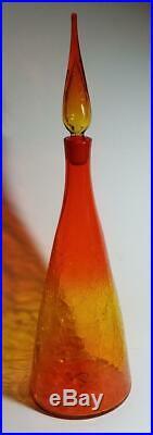 Vtg Blenko 920-L Tangerine Crackle Decanter Winslow Anderson Excellent
