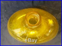 Vtg Blenko Art Glass Ships Liquor Decanter with Long Paddle Stopper Yellow 16