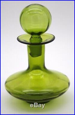 Vtg Blenko Decanter Blown Glass Ball Stopper Mid-century Green Pontil