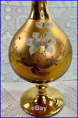 Vtg Bohemian Czech Decanter Wine Glasses 24k Gold Hand Painted Enamel 5 Set 6