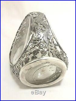 Vtg Chinese Export (Sterling Silver) Dragon Overlay Glass Decanter Bottle