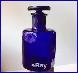 Vtg Danish Modern Cobalt Blue Liqueur Decanter by Holmegaard Octagonal Design