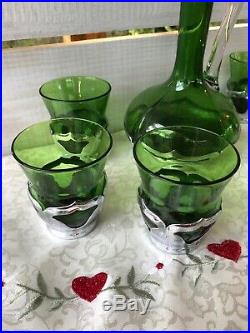 Vtg Farber Bros Chrome Green Cambridge Glass Decanter 6 Hi-Ball Glasses Barware