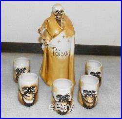 Vtg Grim Reaper Skull Skeleton Decanter Poison Bottle &5 Shot Glass-Japan-Shofu