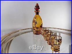 Vtg Liquor Set of 6 Bohemian Etched Glass decanter shot glasses Retro Mod era