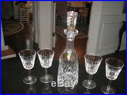 Vtg. Lismore Waterford Crystal 13 1/4 Wine Decanter AND 4 GLASS SET UNUSED TAG
