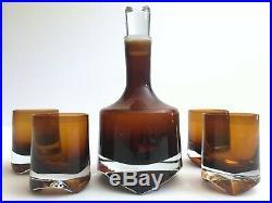 Vtg MID Century Modern Denby Milnor Sweden Crystal Art Glass Decanter 5pc Set