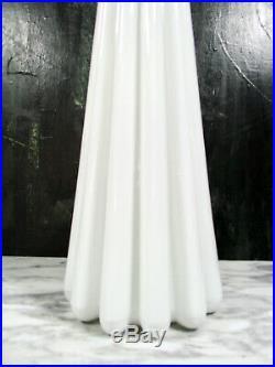 Vtg MID Century Modern Italian Empoli White Cased Glass Fluted Floor Decanter