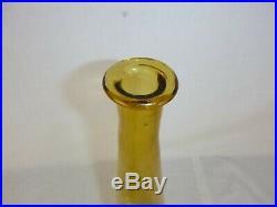 Vtg Mid Century Empoli Amber Glass Decanter Genie Bottle with Stopper 25
