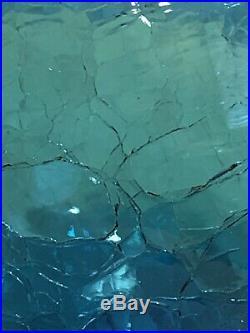 Vtg Mid Century Modern Blenko Peacock Blue Crackle Glass 657M Decanter & Stopper