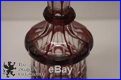 Vtg Ruby Cut to Clear Bohemian Crystal Geometric Decanter Stopper Mid C. Modern