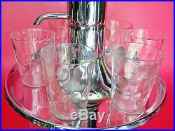 WORKING Vtg Park Sherman Glass Liquor Dispensing Pump Decanter with 6 Shot Glasses