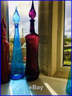 XXL 26 66cm Dark Magenta Glass Genie Bottle Italy Empoli 1970s Vintage Decanter